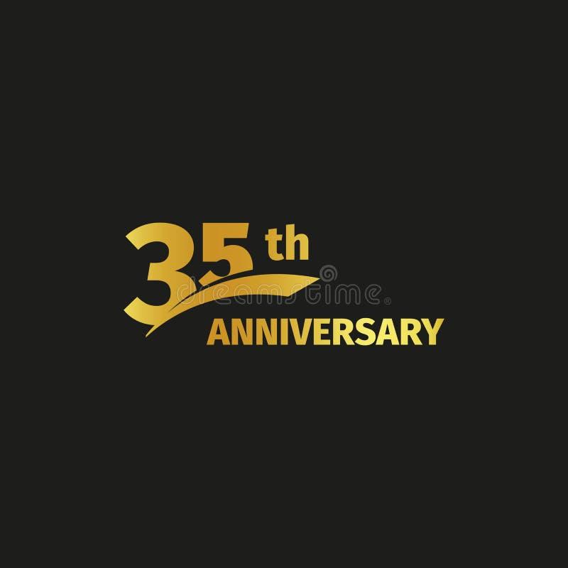 Odosobniony abstrakcjonistyczny złoty 35th rocznicowy logo na czarnym tle 35 numerowy logotyp Trzydzieści pięć rok jubileuszowych ilustracja wektor