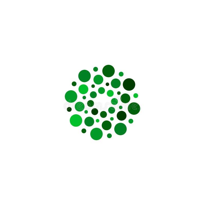 Odosobniony abstrakcjonistyczny zielonego koloru round kształta logo na białym tle, prosty mieszkanie kropkował logotypu wektoru  royalty ilustracja