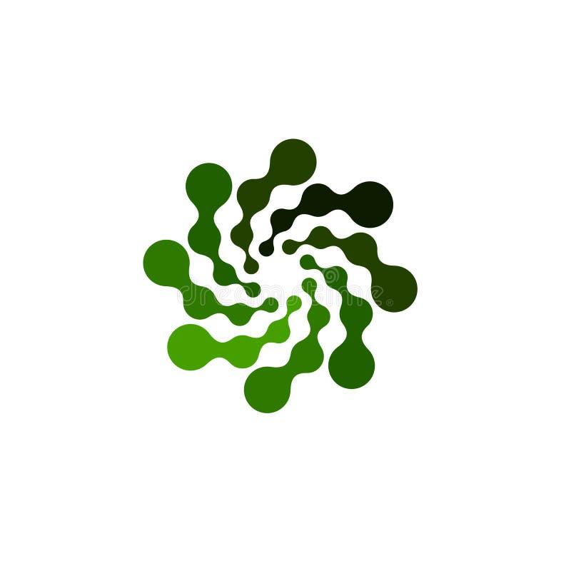 Odosobniony abstrakcjonistyczny zielonego koloru round kształta logo na białym tle, prosty płaski zawijasa logotyp związane kropk royalty ilustracja