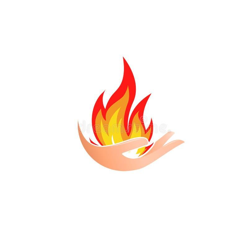 Odosobniony abstrakta ogienia logo Płomień w ręka logotypie Gorąca palmowa ikona Upału znak symbol łatwopalne również zwrócić cor ilustracji