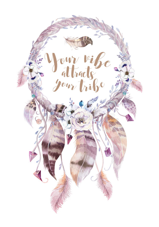 Odosobniony akwareli dekoraci czecha dreamcatcher Boho feath royalty ilustracja
