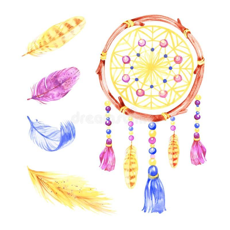 Odosobniony akwareli dekoraci czecha dreamcatcher Boho upierza dekoracj? Miejscowego wymarzony modny projekt Tajemnica etnic royalty ilustracja