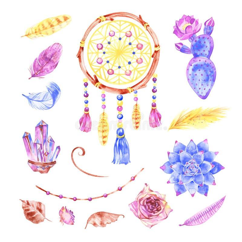 Odosobniony akwareli dekoraci czecha dreamcatcher Boho upierza dekoracj? Miejscowego wymarzony modny projekt Tajemnica etnic ilustracja wektor