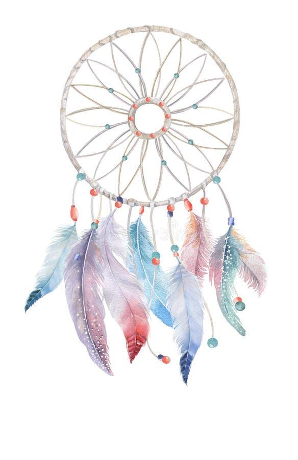 Odosobniony akwareli dekoraci dreamcatcher z koralikami i boho ilustracji