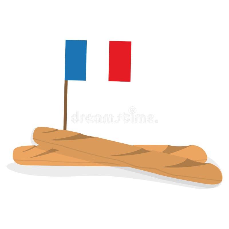 Odosobniony baguette z flagą ilustracji