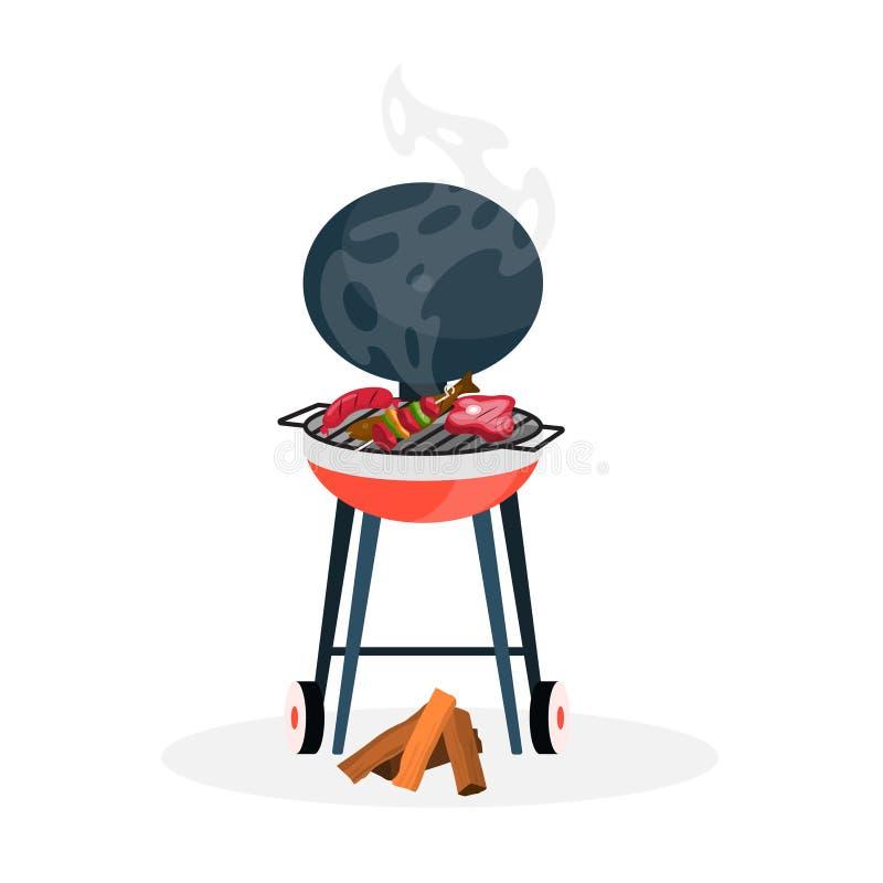 Odosobniony bbq grill ilustracja wektor