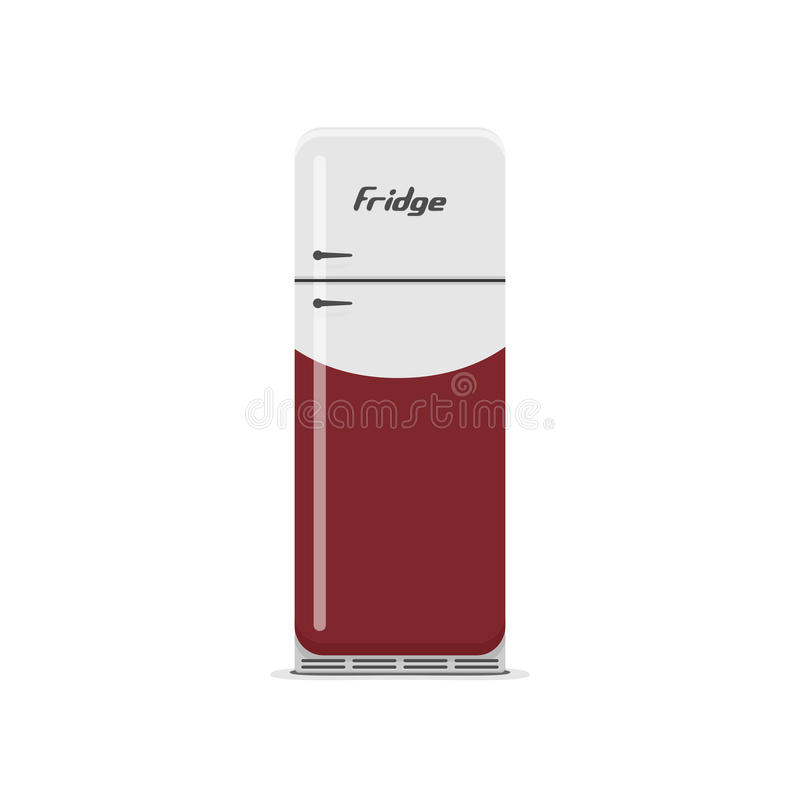 Odosobniony biały i czerwony rocznika Fridge ilustracja wektor