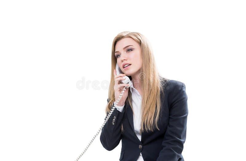 Odosobniony bizneswoman na telefonie obraz royalty free