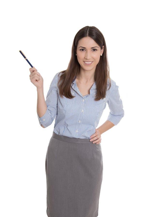 Odosobniony bizneswoman przedstawia z piórem. zdjęcie stock