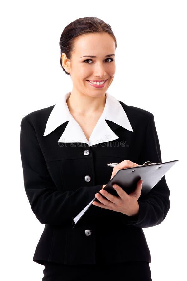 odosobniony bizneswomanu writing obraz stock
