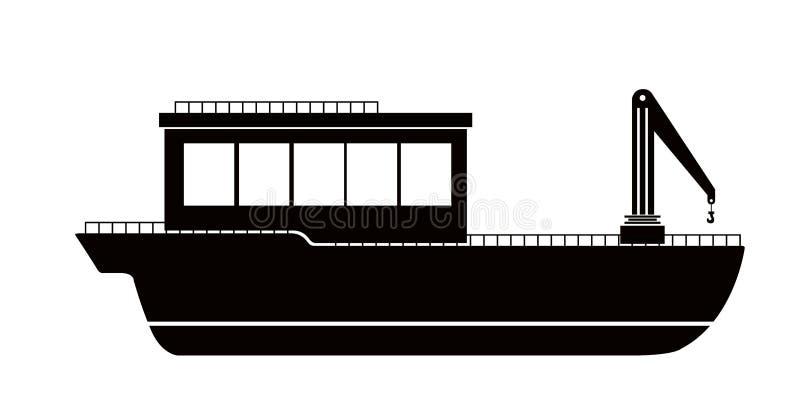 Odosobniony boczny widok łodzi rybackiej ikona ilustracji