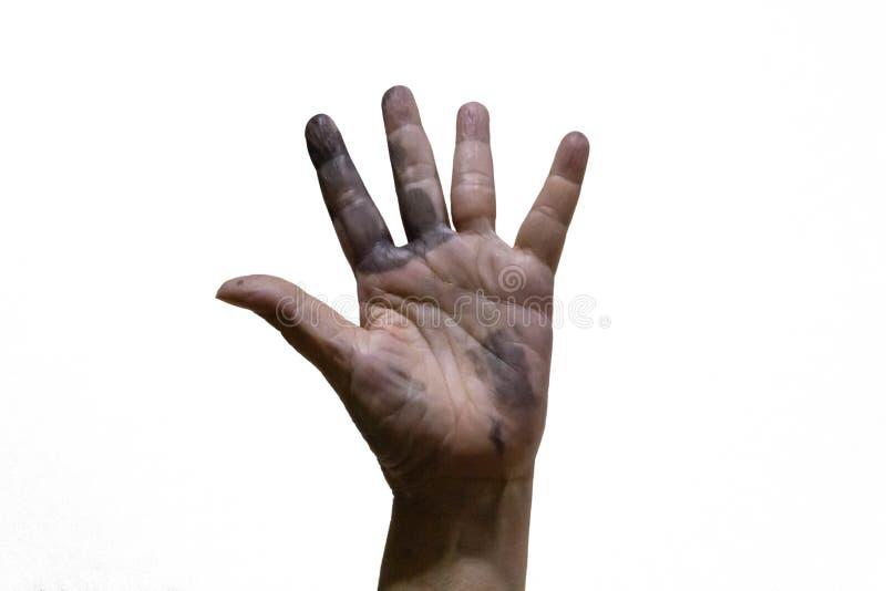 Odosobniony brudzi rękę z czarną plamą fotografia royalty free