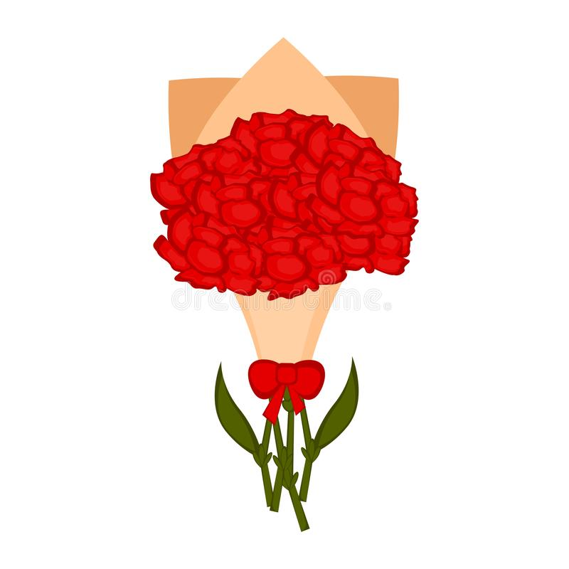 Odosobniony bukiet goździków kwiaty ilustracji