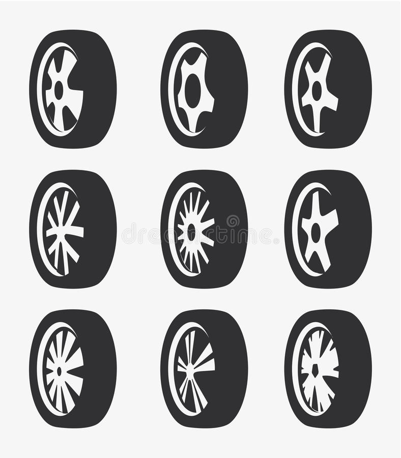 Odosobniony czarny i biały koloru aliaż toczy logo kolekcję, samochodowego elementu logotypu ustalona wektorowa ilustracja ilustracji