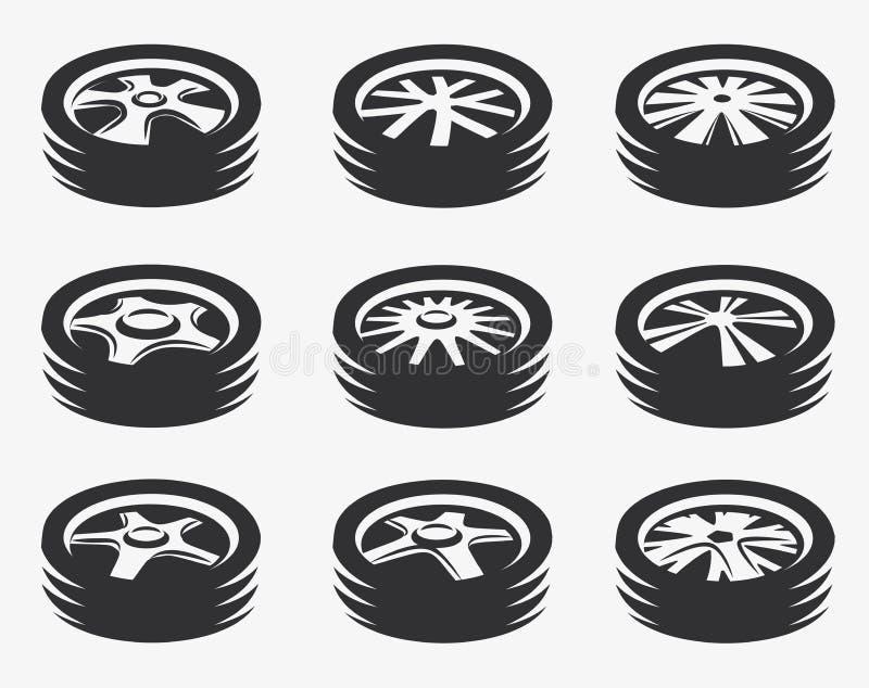 Odosobniony czarny i biały koloru aliaż toczy logo kolekcję, samochodowego elementu logotypu ustalona wektorowa ilustracja ilustracja wektor