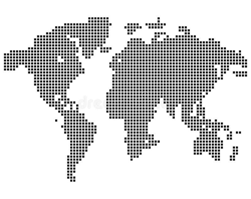Odosobniony czarny koloru worldmap kropki na białym tle, ziemska wektorowa ilustracja ilustracja wektor