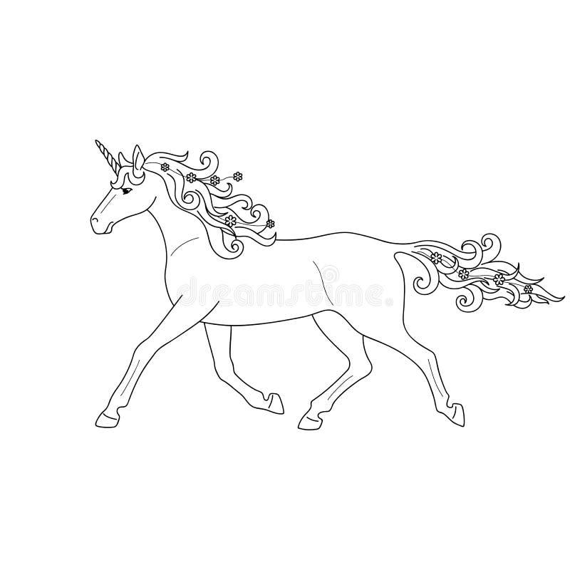 Odosobniony czarny konturu bieg, kłusować jednorożec na białym tle Boczny widok Krzyw linie Strona kolorystyki książka ilustracja wektor
