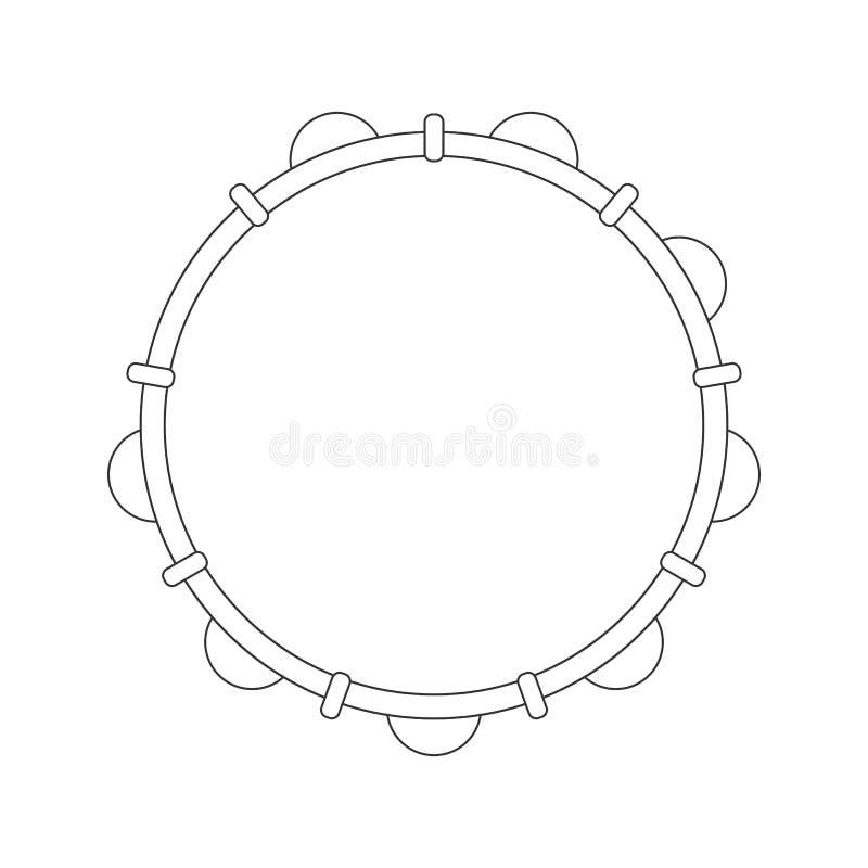 Odosobniony czarny konturu tambourine, pandeiro na białym tle Kreskowy brazylijski instrument muzyczny dla baterii capoeira Widok ilustracji