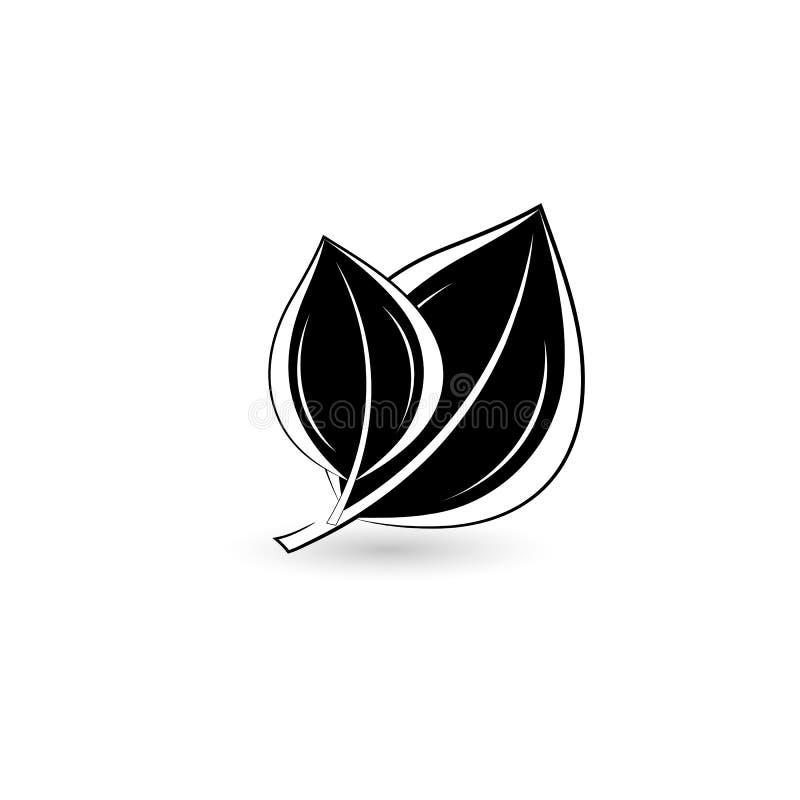 Odosobniony czarny liść ilustracja wektor