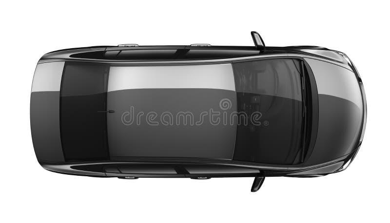 Odosobniony czarny samochód - odgórny widok ilustracji
