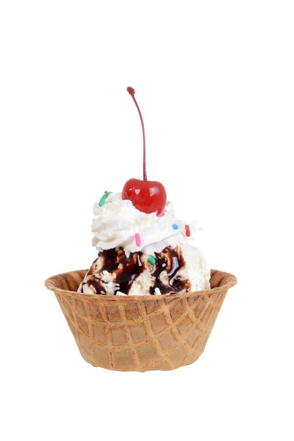 Odosobniony czekoladowy sundae z wiśnią obraz royalty free