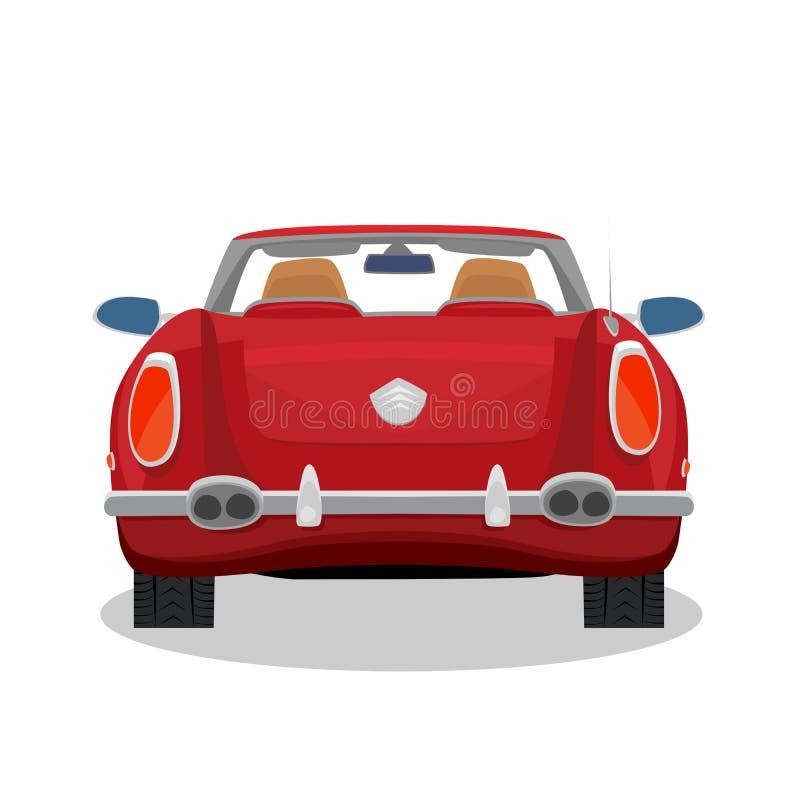 Odosobniony czerwony retro kabriolet z cieniem ilustracji