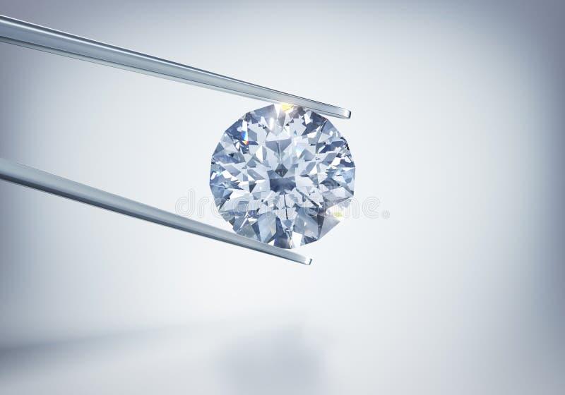 Odosobniony 3D diament na świetle - szary tło royalty ilustracja