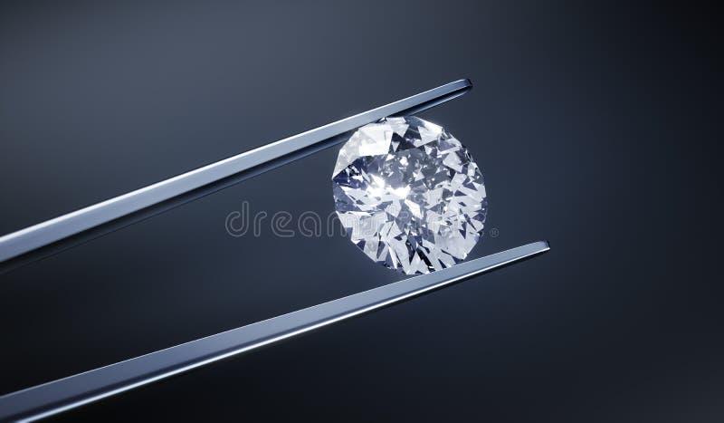 Odosobniony 3D diament na zmroku - szary tło royalty ilustracja
