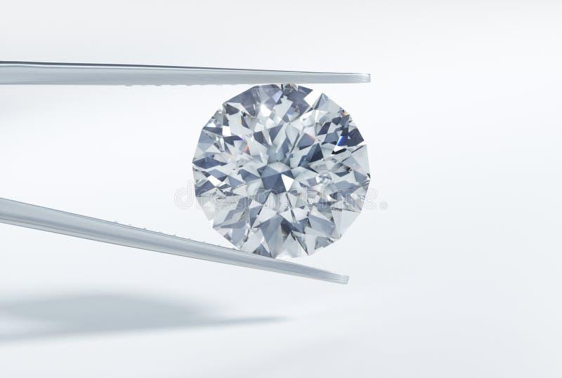 Odosobniony 3D diament w pincecie na białym tle royalty ilustracja
