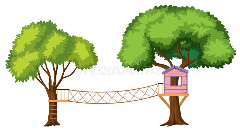 Odosobniony drzewny dom na białym tle royalty ilustracja