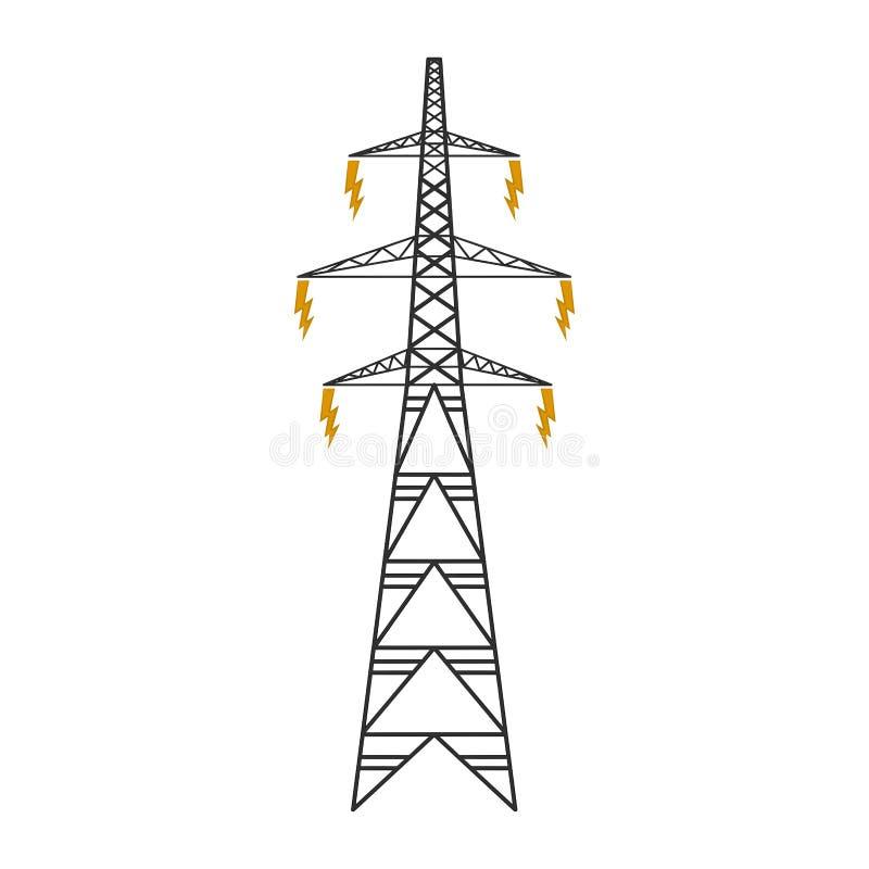 Odosobniony elektryczny wierza ilustracja wektor