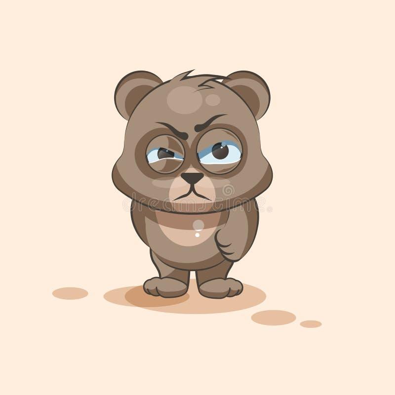 Odosobniony Emoji charakteru kreskówki niedźwiedzia majcheru emoticon z gniewną emocją ilustracja wektor
