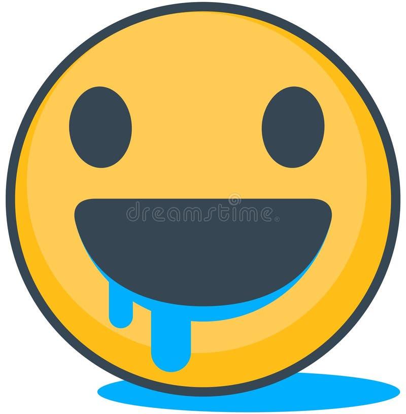 Odosobniony głodny emoticon Wektorowy emoticon ilustracja wektor