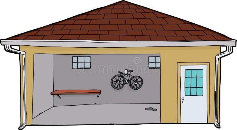 Odosobniony garaż z rowerem i drzwi ilustracja wektor
