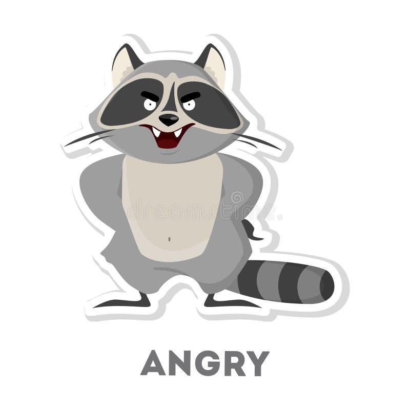 Odosobniony gniewny szop pracz ilustracji