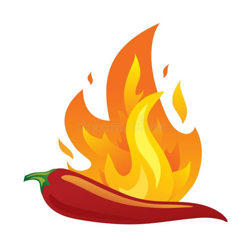 Odosobniony gorący chili pieprz z ogieniem ilustracja wektor