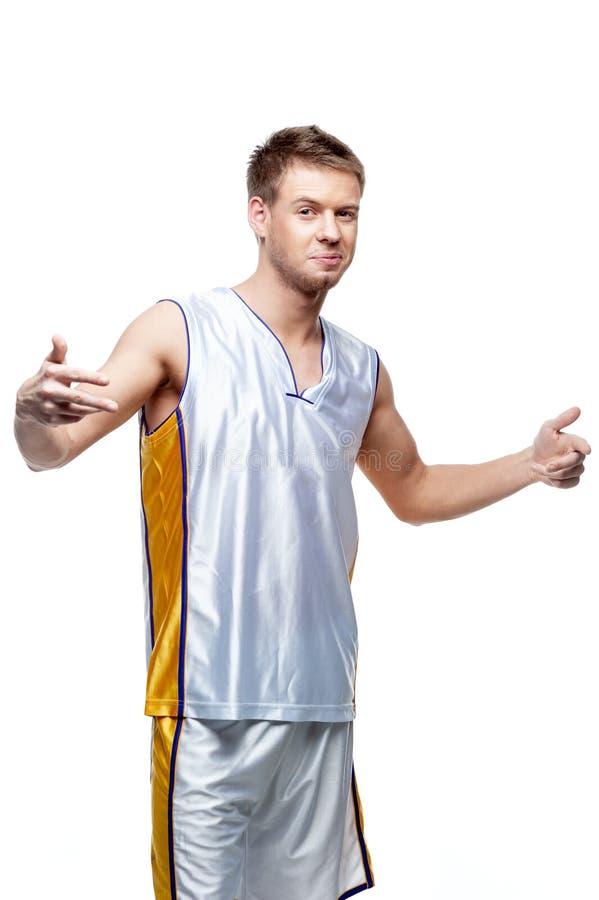 Odosobniony gracz koszykówki zdjęcie stock