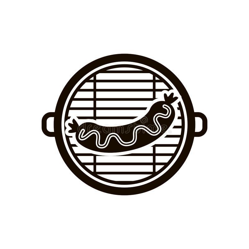 Odosobniony grill i kiełbasiany projekt royalty ilustracja