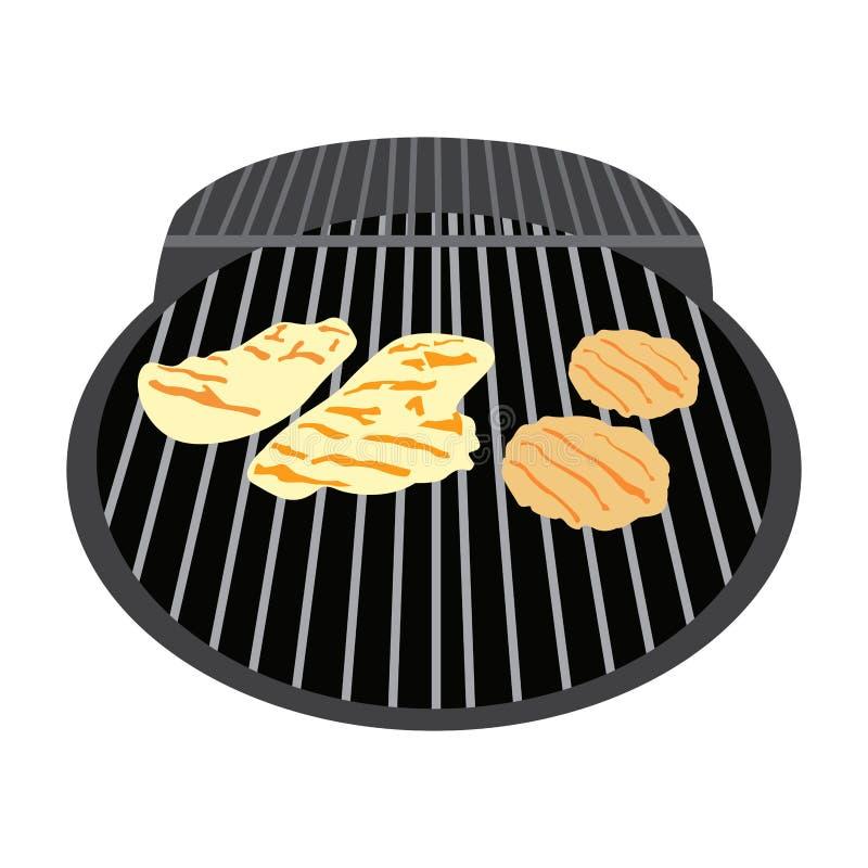 Odosobniony grilla grill ilustracji