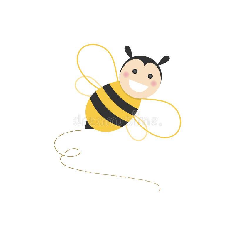 Odosobniony haapy pszczoły latanie na białym tle ilustracja wektor