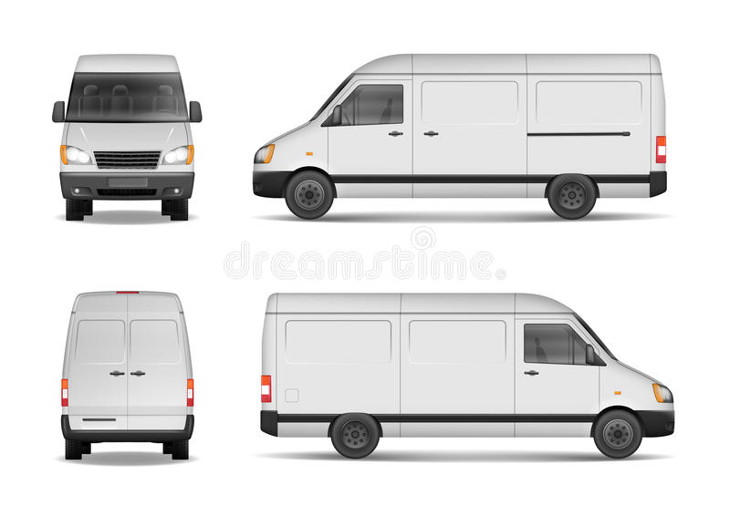Odosobniony handlowy doręczeniowego pojazdu set Biały Samochodu dostawczego Wektor szablon dla samochodu oznakuje i reklamuje Min ilustracji