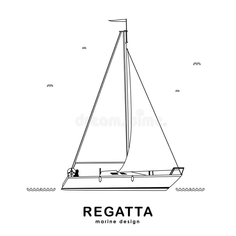 Odosobniony jacht tekst projektu royalty ilustracja
