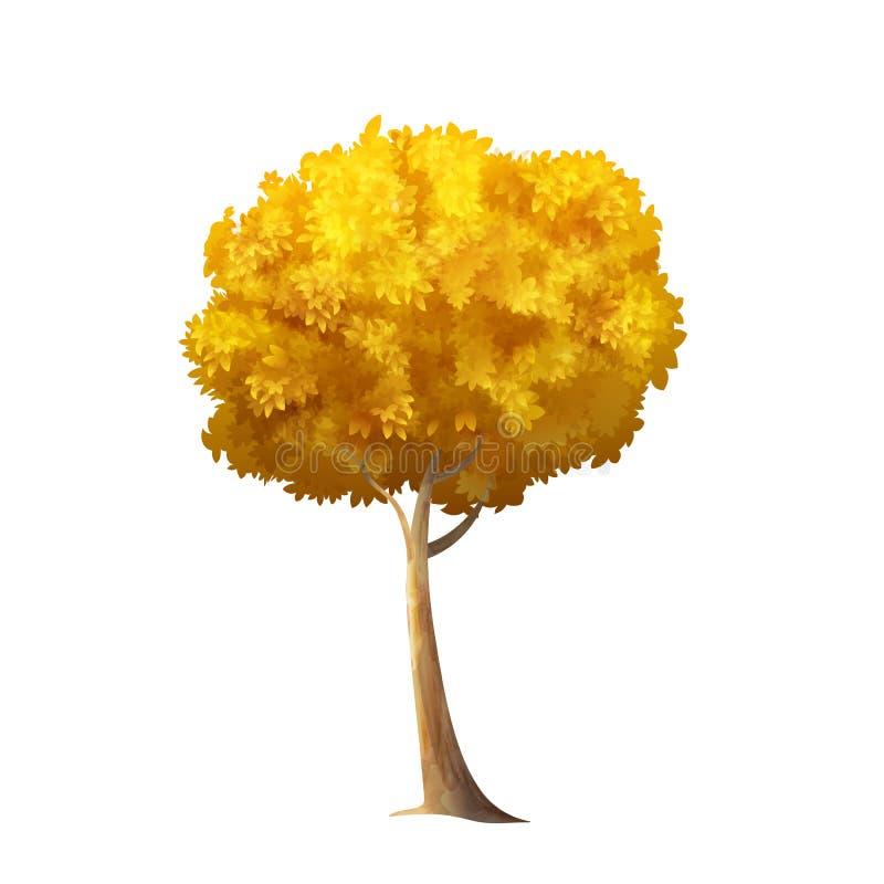 Odosobniony jesieni drzewo ilustracja wektor