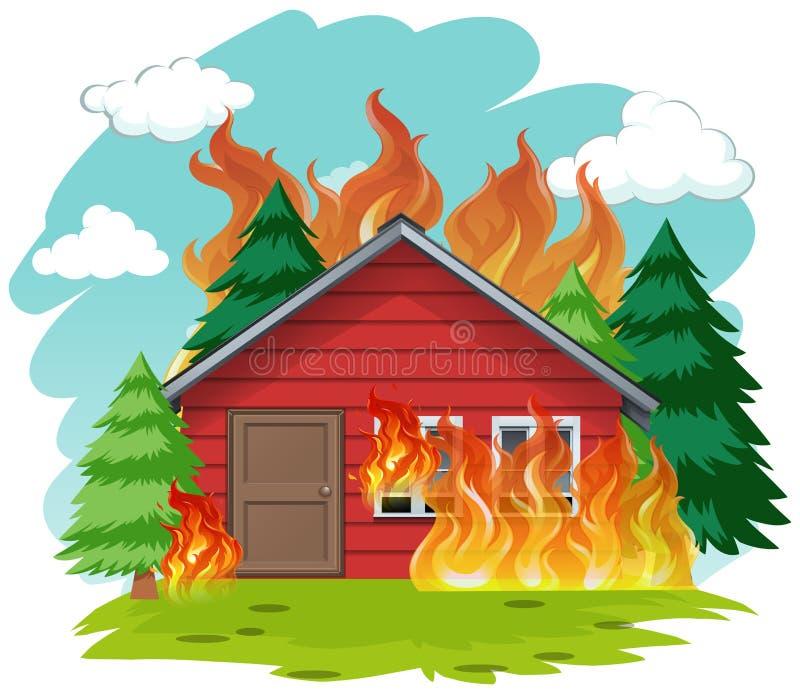 Odosobniony kabina dom na ogieniu ilustracja wektor