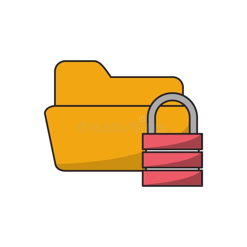 Odosobniony kartoteki bazy danych i kłódki projekt ilustracji