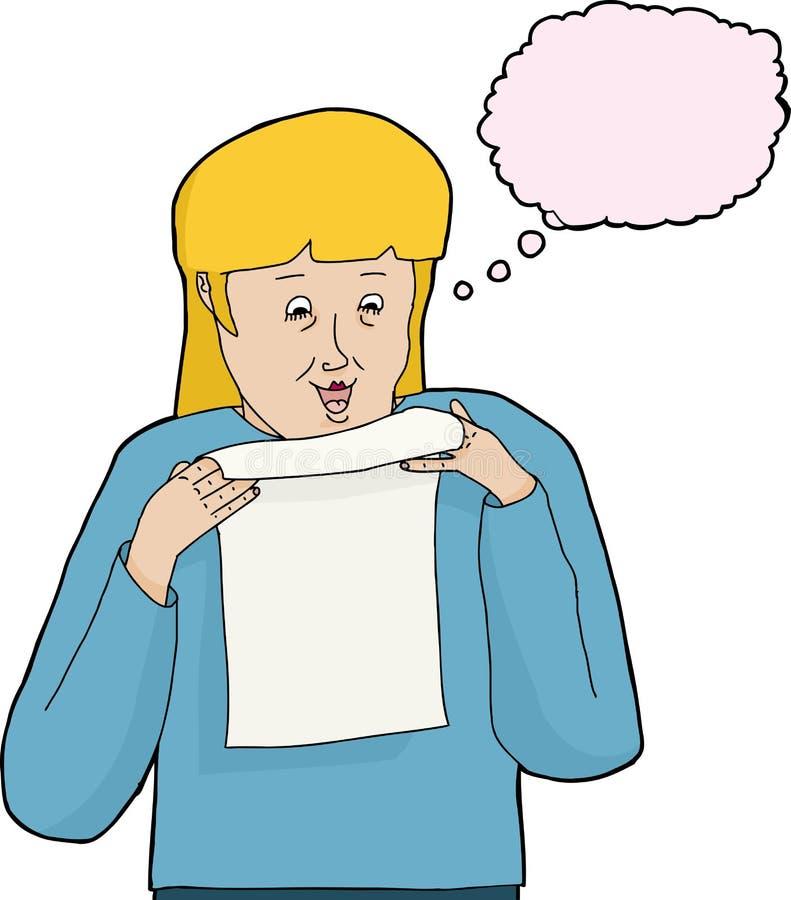Odosobniony kobiety czytania list royalty ilustracja