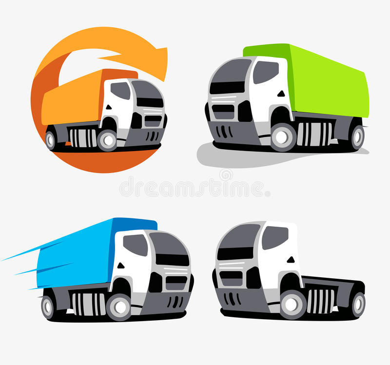 Odosobniony kolorowy ciężarowy wektorowy loga set Pojazdy Inkasowi Samochód grupowe ikony ilustracji