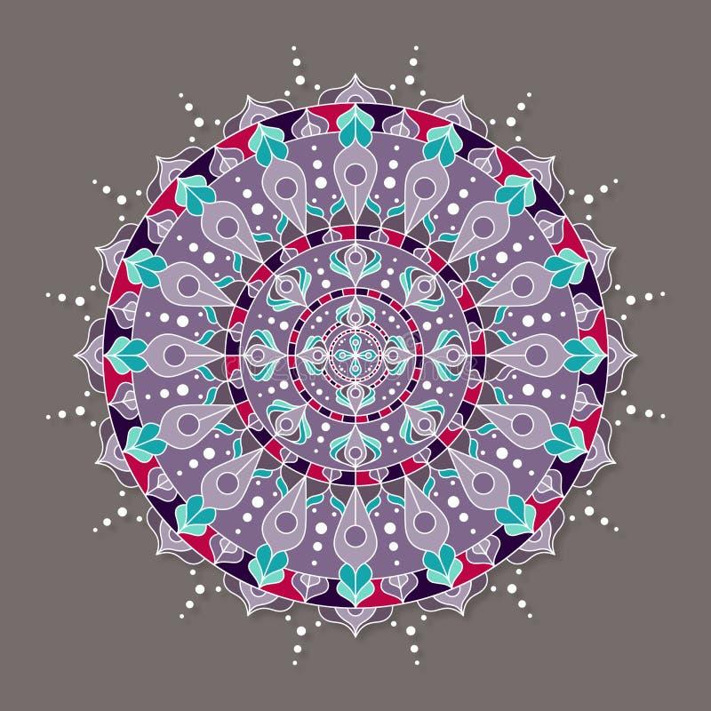Odosobniony kolorowy lineless wektorowy mandala ilustracja wektor