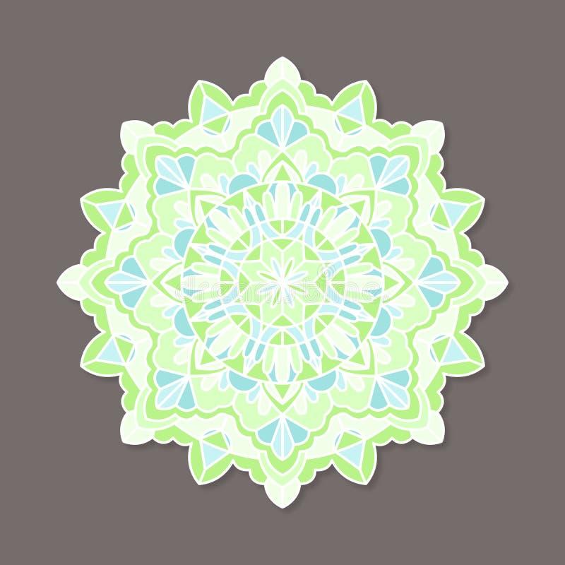 Odosobniony kolorowy lineless wektorowy mandala w pastelowych kolorach royalty ilustracja