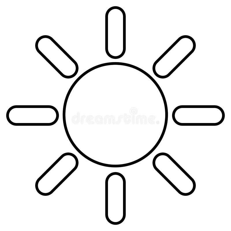 Odosobniony kontur słońce ilustracja wektor